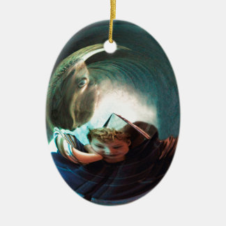Sea Creature, boy with water monster Ceramic Ornament