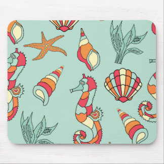 sea creatures and shells mouse pad