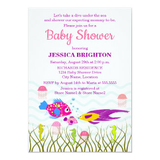 Sea Creatures Baby Shower Invitations