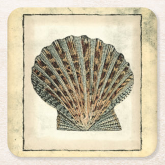 Sea Creatures by the Shore Square Paper Coaster