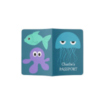 Sea Creatures custom name passport cover