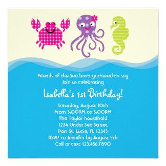 Sea Creatures Girl Birthday Invitation