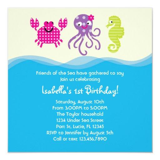 """Sea Creatures Girl Birthday Invitation 5.25"""" Square Invitation Card"""