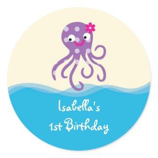 Sea Creatures Girl Favor Sticker sticker