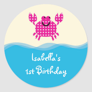 Sea Creatures Girl Favor Sticker