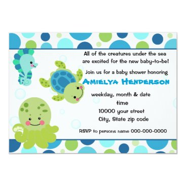 Toddler & Baby themed sea creatures under the sea invitation