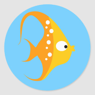 SEA CRITTERS ANGEL FISH Envelope Seals / Toppers Classic Round Sticker