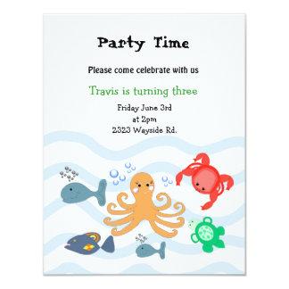 Sea Critters Birthday Party Invitation
