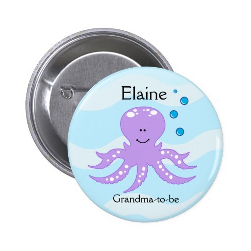 SEA CRITTERS OCTOPUS NAME TAG Personalized Button
