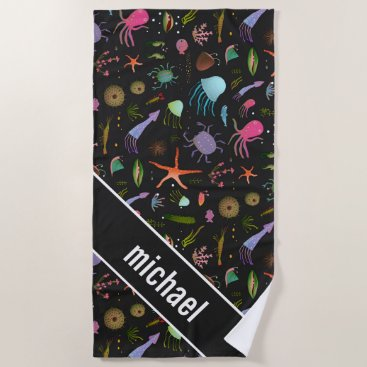 Beach Themed Sea Critters Pattern Beach Towel