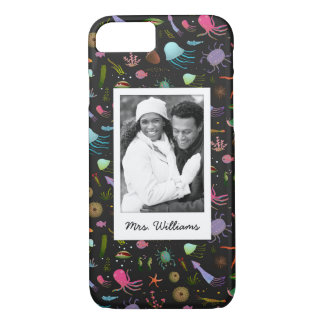 Sea Critters Pattern | Your Photo & Name iPhone 8/7 Case