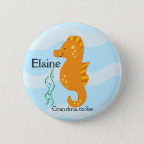 SEA CRITTERS SEAHORSE NAME TAG Personalized Button
