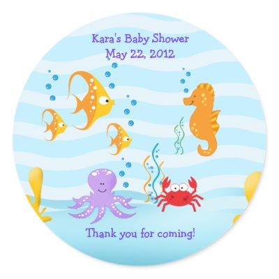 baby shower ideas on sea critters under sea baby shower favor sticker