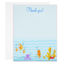 Sea Critters Under the Sea 4x5 Flat Thank you note Invitation