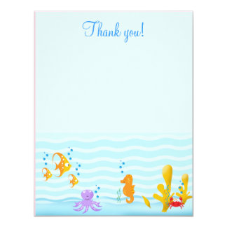Sea Critters Under the Sea 4x5 Flat Thank you note 4.25x5.5 Paper Invitation Card