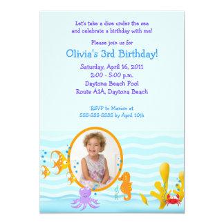 SEA CRITTERS Under the Sea *PHOTO* Birthday 5x7 5x7 Paper Invitation Card