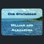 """Sea Cruise Custom Magnet<br><div class=""""desc"""">The blues and aquas of the sea and sky and the edge of a small island are the background for this magnet that you can customize with your name and cruise information for your family or group cruise. It&#39;s a view of the sea from a cruise ship. Use for a...</div>"""