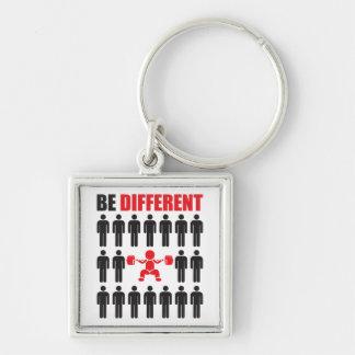 Sea diferente - Bodybuilder Llavero Cuadrado Plateado