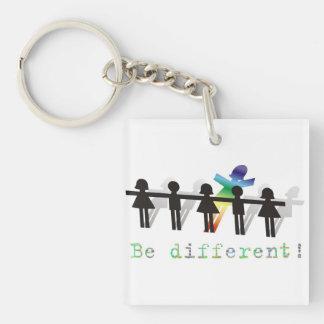 ¡Sea diferente! Llavero Cuadrado Acrílico A Una Cara