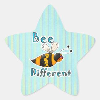 Sea diferente manchado manosean la abeja pegatina en forma de estrella