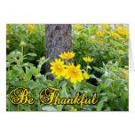Sea diseño agradecido de la flor y de las hojas tarjeta