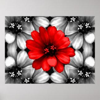 Sea diversa flor roja póster