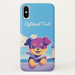 Sea Dog Puppy Sailor Rottweiler iPhone XS Case