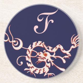 SEA DRAGON 2 MONOGRAM pink blue Sandstone Coaster