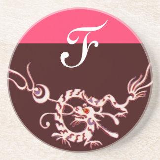 SEA DRAGON 2 MONOGRAM pink purple Drink Coaster