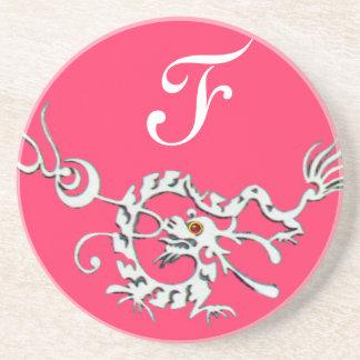 SEA DRAGON 2 MONOGRAM pink white Coaster