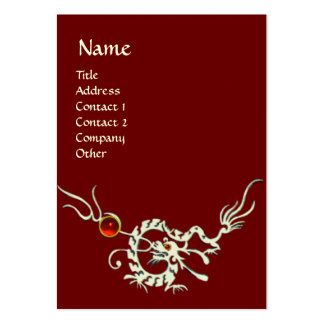 SEA DRAGON 2 RUBY MONOGRAM   white red Large Business Card