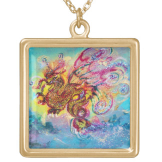 SEA DRAGON AND BLUE WAVES Fantasy Gold Plated Necklace
