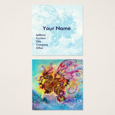 Beach Themed SEA DRAGON AND BLUE WAVES Fantasy Square Business Card