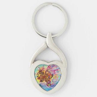 SEA DRAGON Heart Silver-Colored Heart-Shaped Metal Keychain