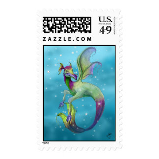 Sea Dragon in Water by April Robbins Postage Stamp