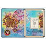 SEA DRAGON RED RUBY GEMSTONE MONOGRAM iPad AIR COVERS