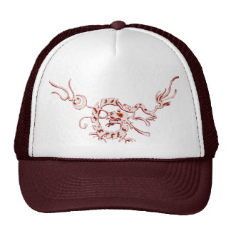 SEA DRAGON RUBY, black and white red Trucker Hat