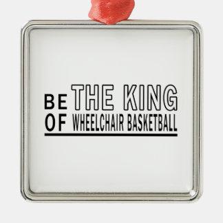 Sea el baloncesto de silla de ruedas de rey Of Adorno Cuadrado Plateado