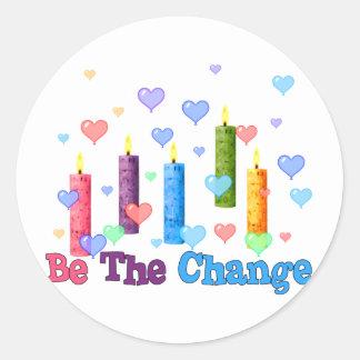 Sea el cambio del mundo pegatinas redondas