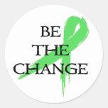 Sea el cambio - mes de la conciencia de la salud pegatinas redondas