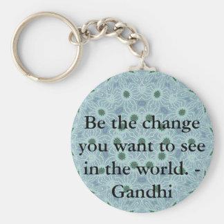 Sea el cambio que usted quiere ver en el mundo. Ga Llavero Redondo Tipo Pin