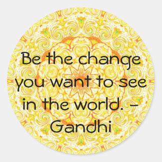 Sea el cambio que usted quiere ver en el mundo. pegatina redonda