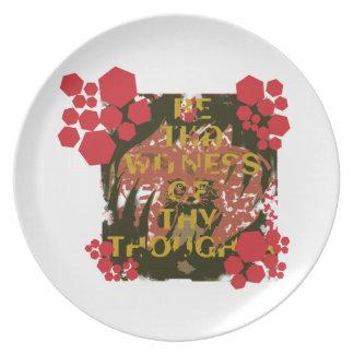 Sea el testigo de thy placa de los pensamientos plato de cena