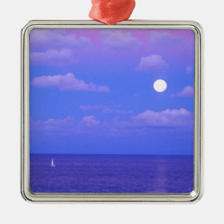 Sea Enchanted Moonrise Cancun Metal Ornament