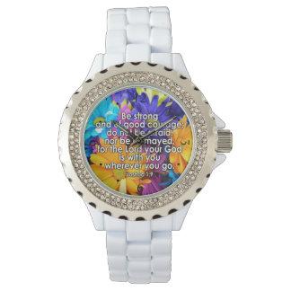 Sea escritura fuerte de la biblia relojes de pulsera
