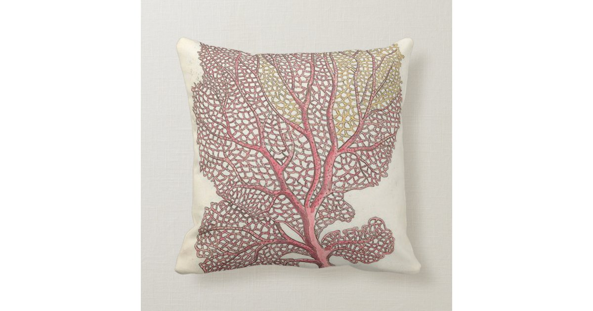 Coral Pink Throw Pillows : Sea Fan, Coral Pink Nautical Throw Pillow Zazzle