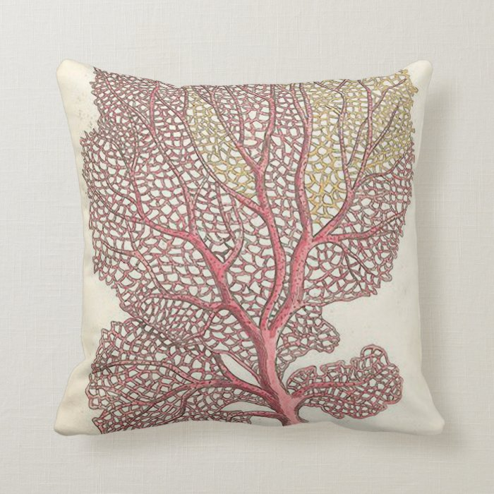 Sea Coral Throw Pillows : Sea Fan, Coral Pink Nautical Throw Pillow Zazzle