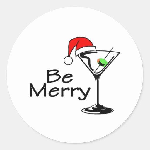 Sea Felices Navidad Martini Pegatina Redonda