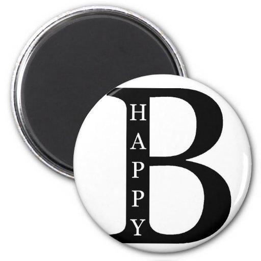 Sea feliz (en el negro del interior…) imán de frigorifico