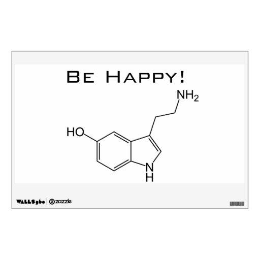 ¡Sea feliz! Etiquetas de la pared de la serotonina